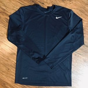 Nike Shirts - Nike DRI FIT Athletic Men's Long Sleeve SMALL Navy